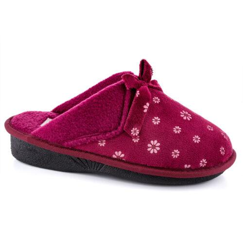 נעלי בית נשים דגם פפיון קטיפה פרג